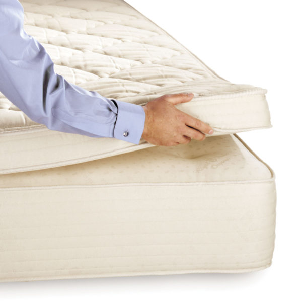 Royal-Pedic 3in.,4in., and 5in. thick Pillowtop Pads shown with close up hand shot