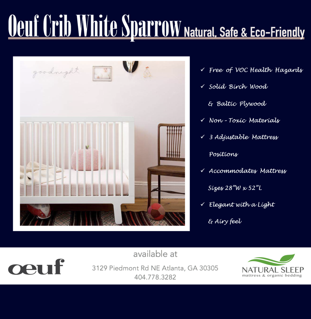 Oeuf Crib White Sparrow showroom item on sale! $820 | on Sale for $300, only for our Atlanta Natural Sleep Mattress & Organic Bedding clients!